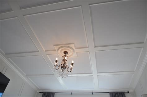 low profile coffered ceiling installed on 8 ft ceilings