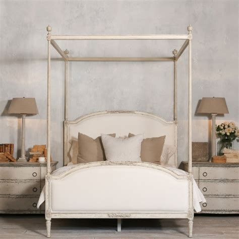 dauphine canopy  poster bed  weathered white