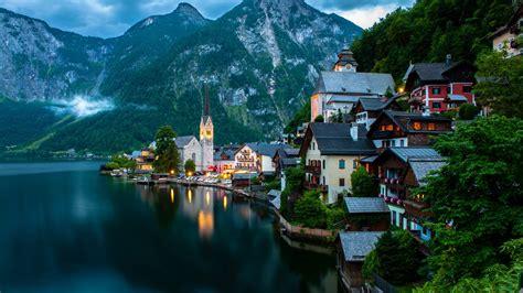 壁紙 ハルシュタット、ザルツカンマーグート、オーストリア、山、夜、湖、ボート、家 2560x1600 Hd 無料の