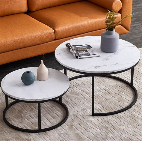 """Small round faux marble round coffee table with golden x base: Top-32"""" Modern Nesting Coffee Table Simple Modern Living Room -2 Round Table Sets(1*Big+1*Small ..."""