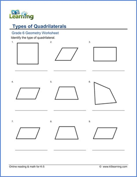 grade  geometry worksheets classifying quadrilaterals