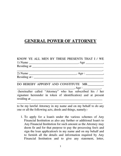 printable power  attorney form generic