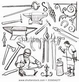 Blacksmith Sketch Anvil Sledgehammer Vector Horseshoe Farrier Clip Drawing Drawn Hand Clipart Vise Oven Tongs Hammer Smith Illustration Such Projects sketch template