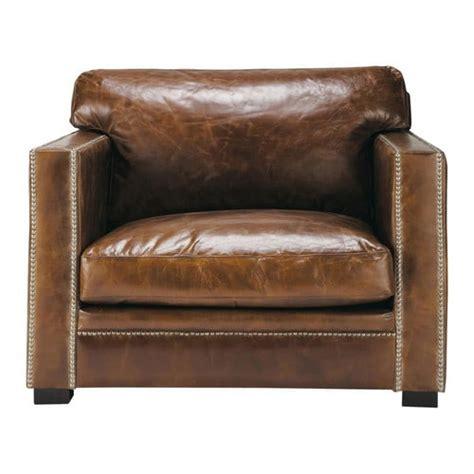 fauteuil en cuir marron dandy maisons du monde