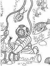 Coloring Sea Under Deep Diver Scuba Diving Sheets Doverpublications Colouring Adult Dover Publications Welcome Adventure Ocean Printable Seabed Template Animal sketch template