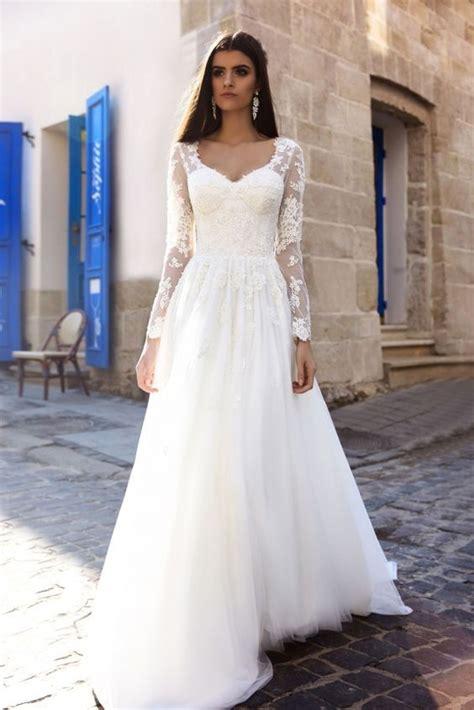 floral applique sheer long sleeve wedding dress 2759301