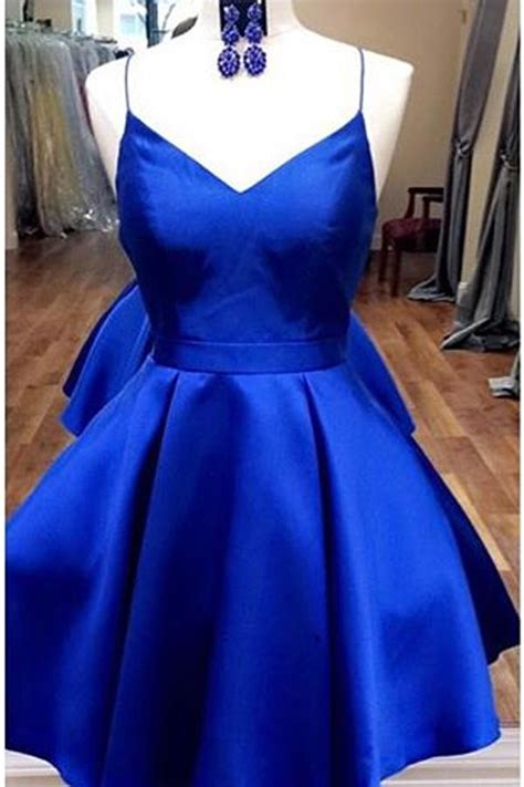 royal blue straps short homecoming dress  ribbonshort