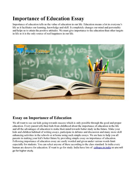 Importance Of Tool Essay by Importance Of Education Essay Authorstream