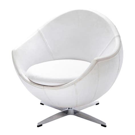 fauteuil en cuir blanc fauteuil vintage cuir blanc guariche mars maisons du monde