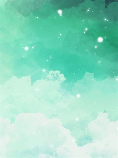 blue green gradient clouds watercolor background