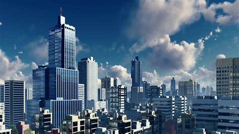 City Building Backgrounds by Abstract Big City Downtown With Modern High Rise Buildings