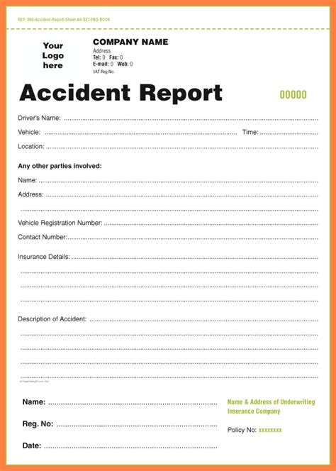 accident incident report form template progress report