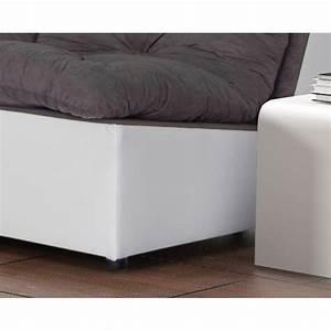 Canapé D Angle Modulable : canap d 39 angle modulable en tissu gris blanc gisela matelpro ~ Melissatoandfro.com Idées de Décoration