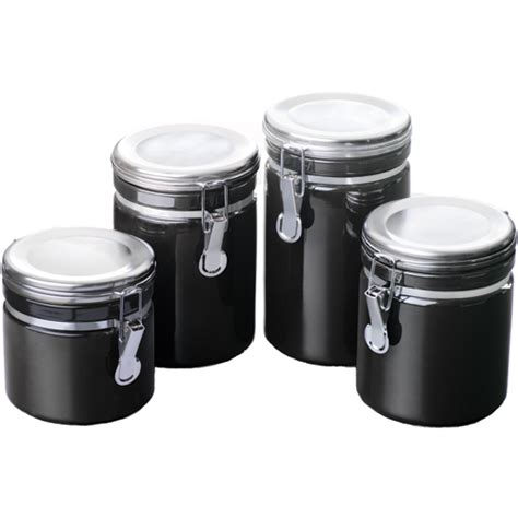 Ceramic Kitchen Canisters  Black (set Of 4) In Plastic