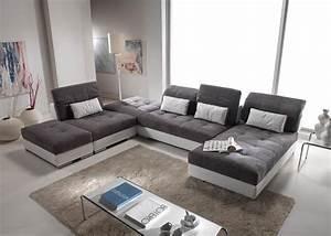 Canapé De Salon : cuir center canap modulable meuble de salon contemporain ~ Teatrodelosmanantiales.com Idées de Décoration