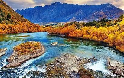 Fall Mountains Zealand River Forest Landscape Desktop