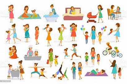 Cartoon Mother Illustration Children Vector Mom Son