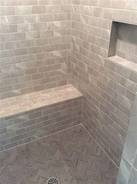 walk  shower  bench seat herringbone floor grey