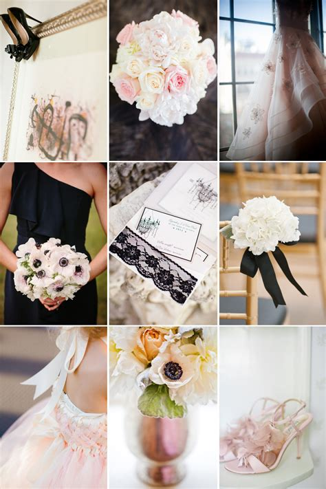 black ivory blush romantic wedding color inspiration