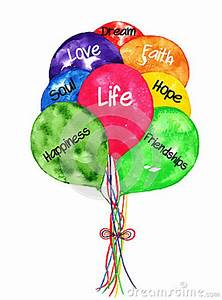 Life Balloons Bouquet Watercolor Painting Royalty Free