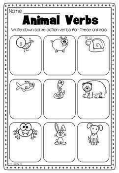 verbs printable worksheet kindergarten first second grade