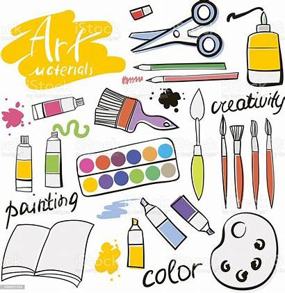 Materials Doodle Vector Icons Hand Supplies Colored