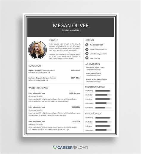 word resume templates  microsoft word cv templates