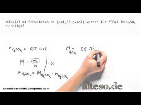 stoechiometrie stoffmenge und volumen berechnen