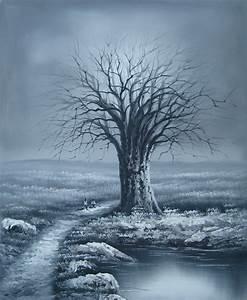 Peinture En Noir Et Blanc : peinture arbre en hiver tableau noir et blanc arbres ~ Melissatoandfro.com Idées de Décoration