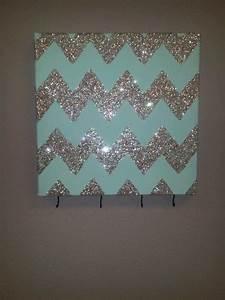Chevron glitter wall art with hooks to hang keys or
