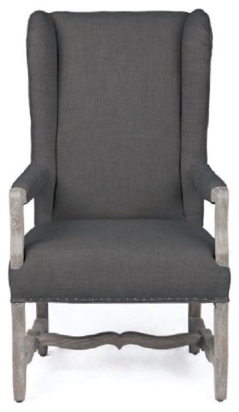 collection rolled arm chair in wool finish with