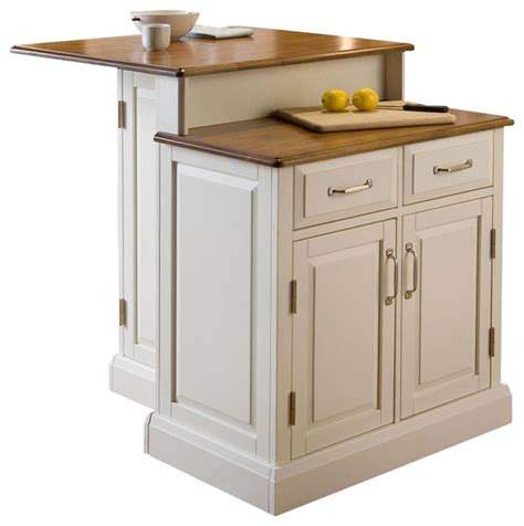 2 tier kitchen island home styles woodbridge two tier kitchen island in white and oak transitional kitchen islands and