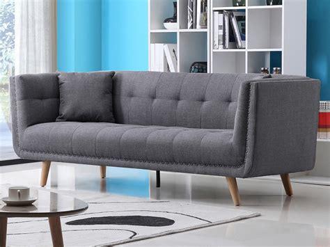 canapé chesterfield tissu gris canapé design 3 places en tissu karl coloris gris