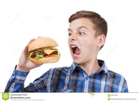 what to eat with hamburger hungry boy wants to eat a big hamburger stock image image 59271591