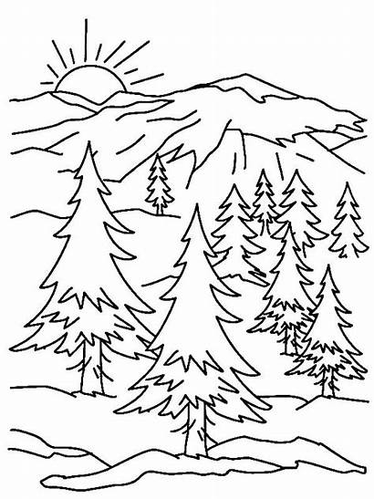 Coloring Mountains Mountain Pages Printable Scene