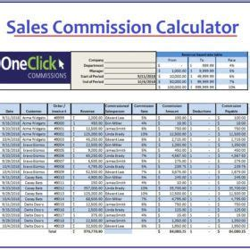 sales commission calculator templates  images