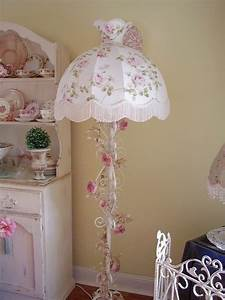 134 best shabby chic lace lamps images on pinterest for Vintage pink floor lamp