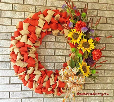 make your own fall wreath diy fall burlap wreath