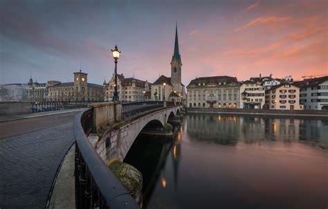 wallpaper bridge  city river zurich images