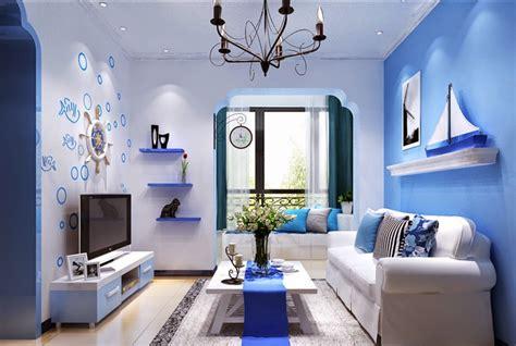 dekorasi interior ruang tamu  warna cat biru