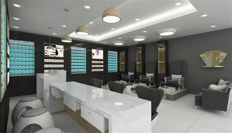 Nail Salon Interior Design With Melamine Display Furniture