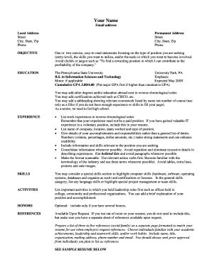 printable resume template forms fillable samples