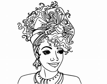 Coloring African Pages American Woman Printable Afro