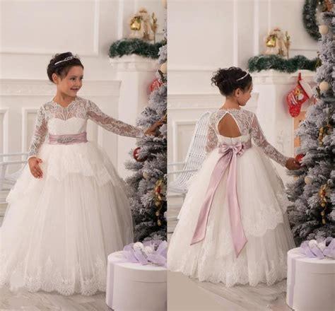vintage flower girls dresses  wedding lace long sleeves