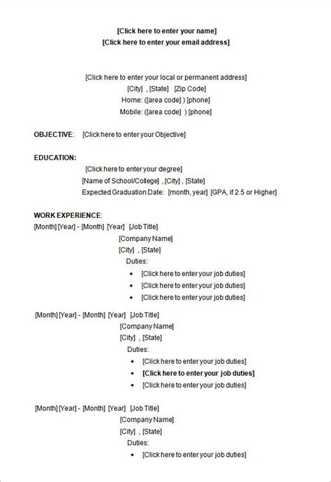 sle microsoft word college student resume format a