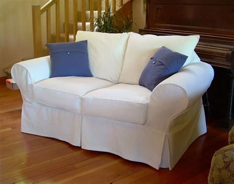 White Loveseat Slipcovers white cotton loveseat slipcover robin s loveseat after