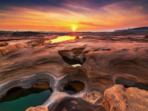 sunset landscape sam phan bok grand canyon  thailand