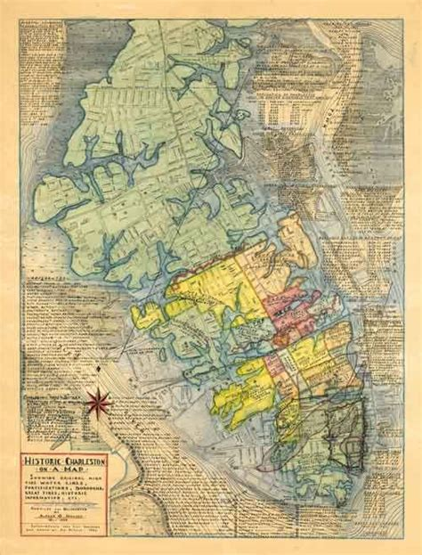 map  historic charleston sc prints south carolina