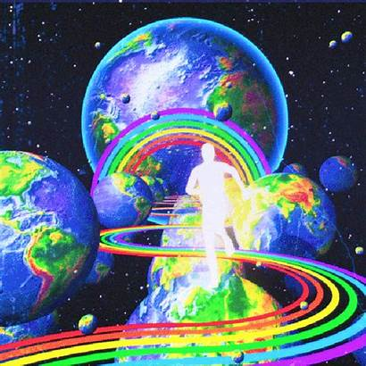 Giphy Trippy Aesthetic Rainbow Space Vaporwave Planet