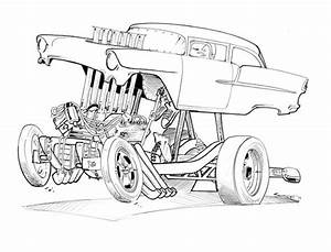 gasser drawings gasser chevy art print dap of drawings With 1955 chevy hot rods